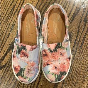 Girls TOMS floral slip on shoes size 13